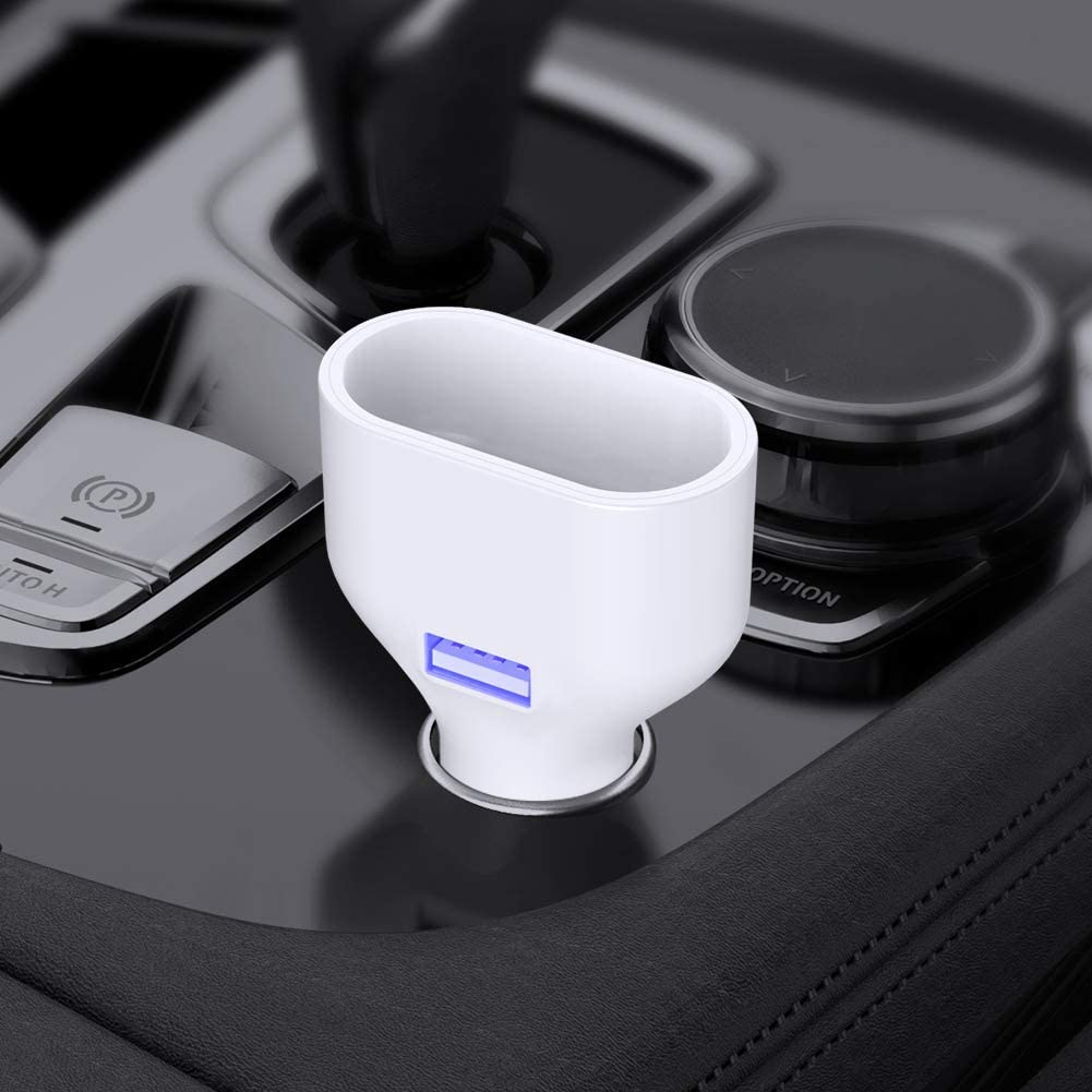 iSunnao Airpods Car Charger - for Airpods 1 and 2-2 in 1 Cigarette Lighter Charger for Airport Case & USB Devices - iPhone 11/11 Pro/11 Pro Max/XS/XR/6s/iPad Pro/Air/Mini/Samsung Galaxy Note/Google