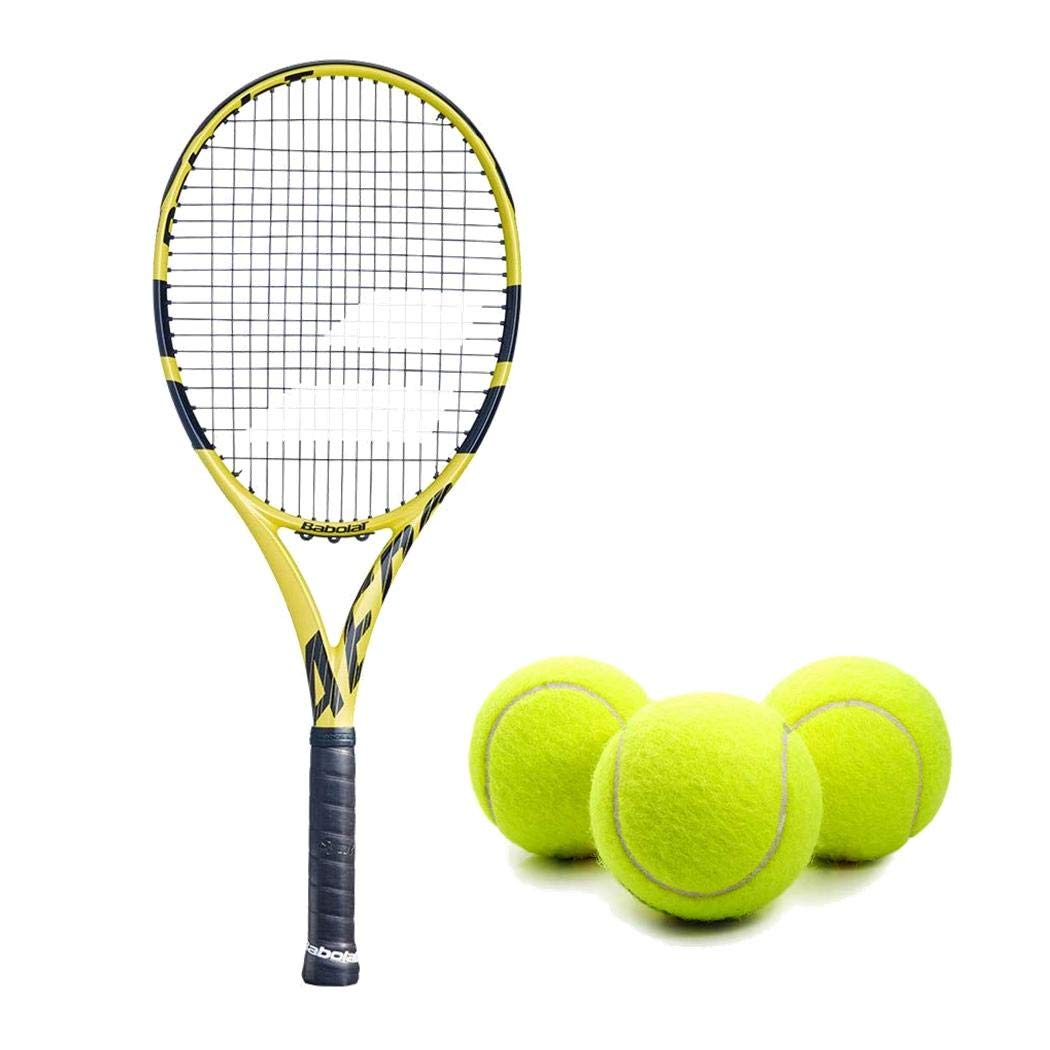 Babolat Aero G (Game) Tennis Racquet (4 3/8'' Inch Grip) Kit or Set Bundled with (1) Can of 3 Tennis Balls (Perfect for Beginner to Intermediate Players)