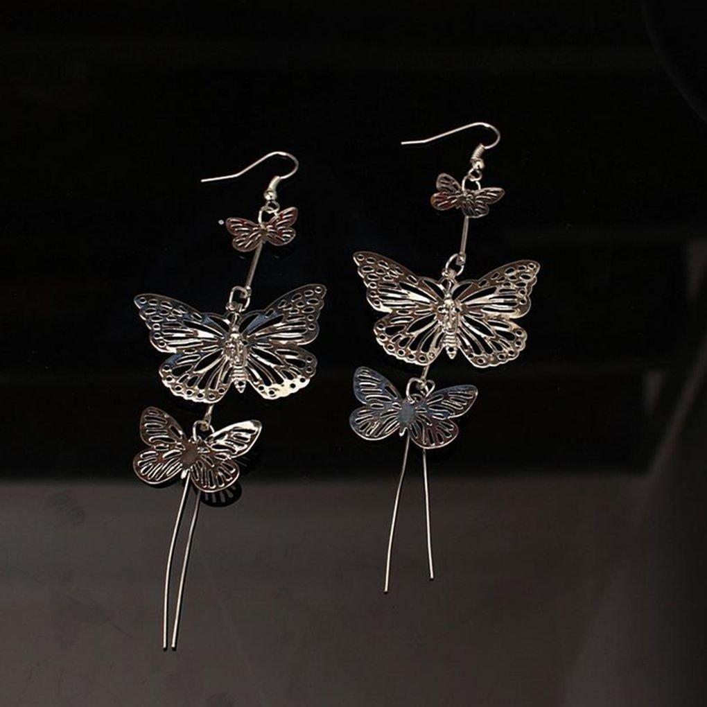Wiivilik 1 Las Mujeres con Encanto par cuelga los Pendientes de la Mariposa Boda de la Muchacha Hueco Largo Gota de Las borlas del o/ído de los Anillos de se/ñora Jewelry