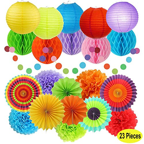 Fiesta Party Decorations, Paper Fans, Pom Poms,Paper Paper Lanterns and Rainbow Party Supplies for Birthdays, Cinco De Mayo, Festivals, Carnivals, Graduation (23 Pieces)