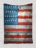 Ambesonne American Flag Tapestry USA Decor, Independence Day of National Celebration and Weathered Wooden Looking Picture, Bedroom Living Kids Room Dorm Accessories Wall Hanging Tapestry, Blue Red