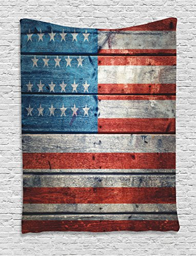 Ambesonne USA Flag Decor Collection, Independence Day of National Celebration and Weathered Wooden Looking Flag Picture, Bedroom Living Kids Room Dorm Accessories Wall Hanging Tapestry, Blue Red - American Farmhouse Bedroom Collection