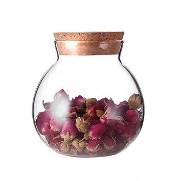 Tarro de cristal transparente redondo de 500 ml con tapa de corcho, ideal para guardar galletas, dulces, especias, té, cereales: Amazon.es: Hogar