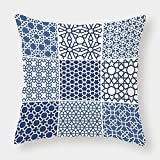 iPrint Microfiber Throw Pillow Cushion Cover,Arabian,Arabesque Islamic Motifs with Geometric Lines Asian Ethnic Muslim Ottoman Element,Blue White,Decorative Square Accent Pillow Case