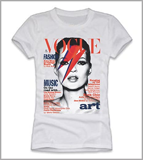 Camiseta de mujer de la portada de Kate Moss en Vogue, mujer, Bianco,