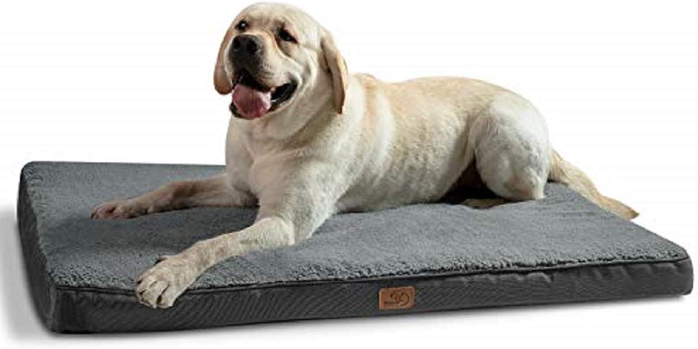Bedsure Cama Perro Extra Grande Ortopédica - Colchón Perro Lavable Verano XL, Desenfundable con Espuma De Caja De Huevos, 112x81x7.6 cm, Gris