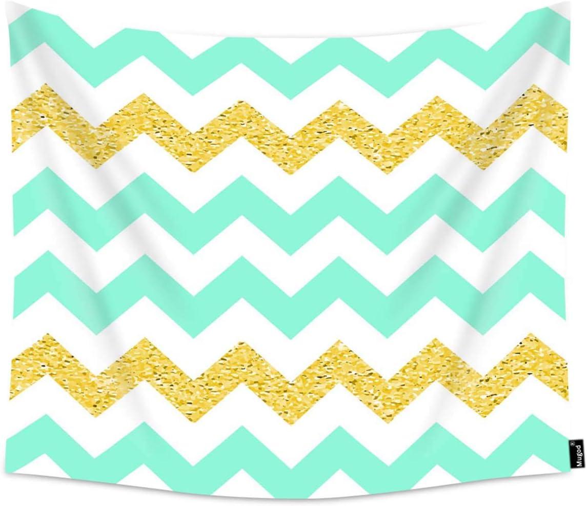 : Mugod Tapestry Retro Light Mint Chevron