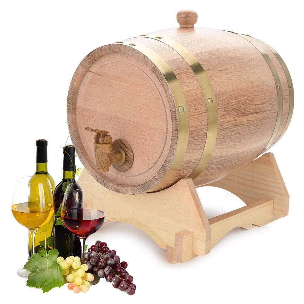 Oak Barrel, 5L Vintage Wood Oak Timber Wine Barrel Dispenser for Whiskey Aging Barrel Bourbon Tequila Brewing Port Kegs (5L)