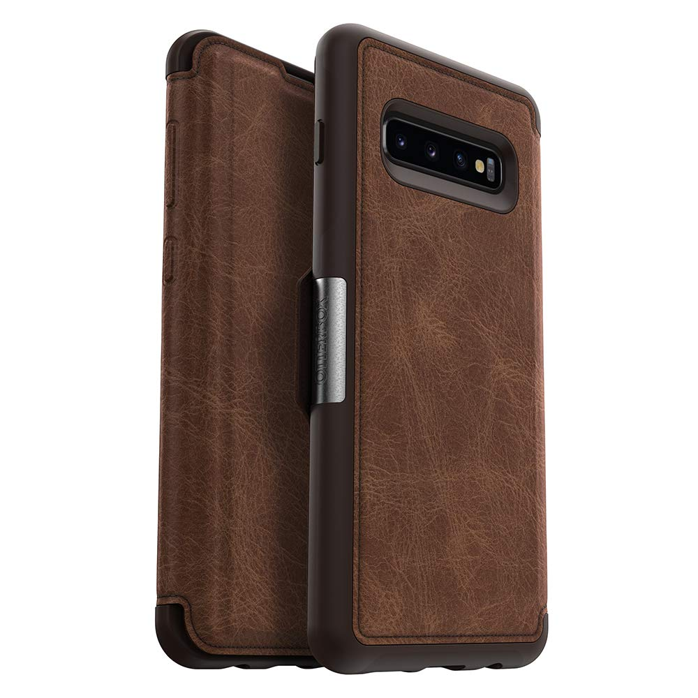 OtterBox STRADA SERIES Case for Galaxy S10+ - Retail Packaging - ESPRESSO (DARK BROWN/WORN BROWN LEATHER) by OtterBox