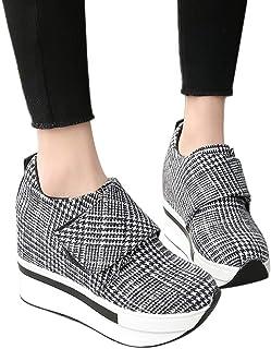 JIANGfu Donna [Sneakers Velcro Sportivi] Scarpe Classico Casuale Plaid Tacco Alto