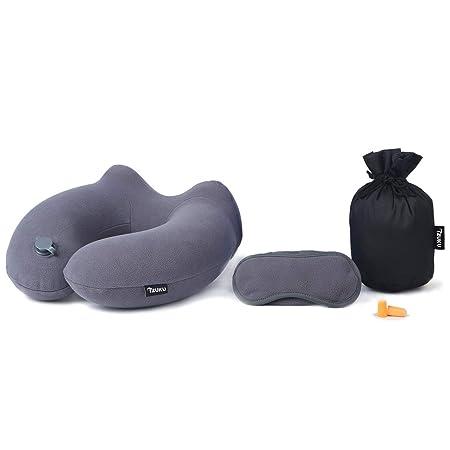 Almohada de Viaje IZUKU, para Proteger el Cuello y la Columna Vertebral,Dormir gafas, tapones para los oídos y capazo (Gris)