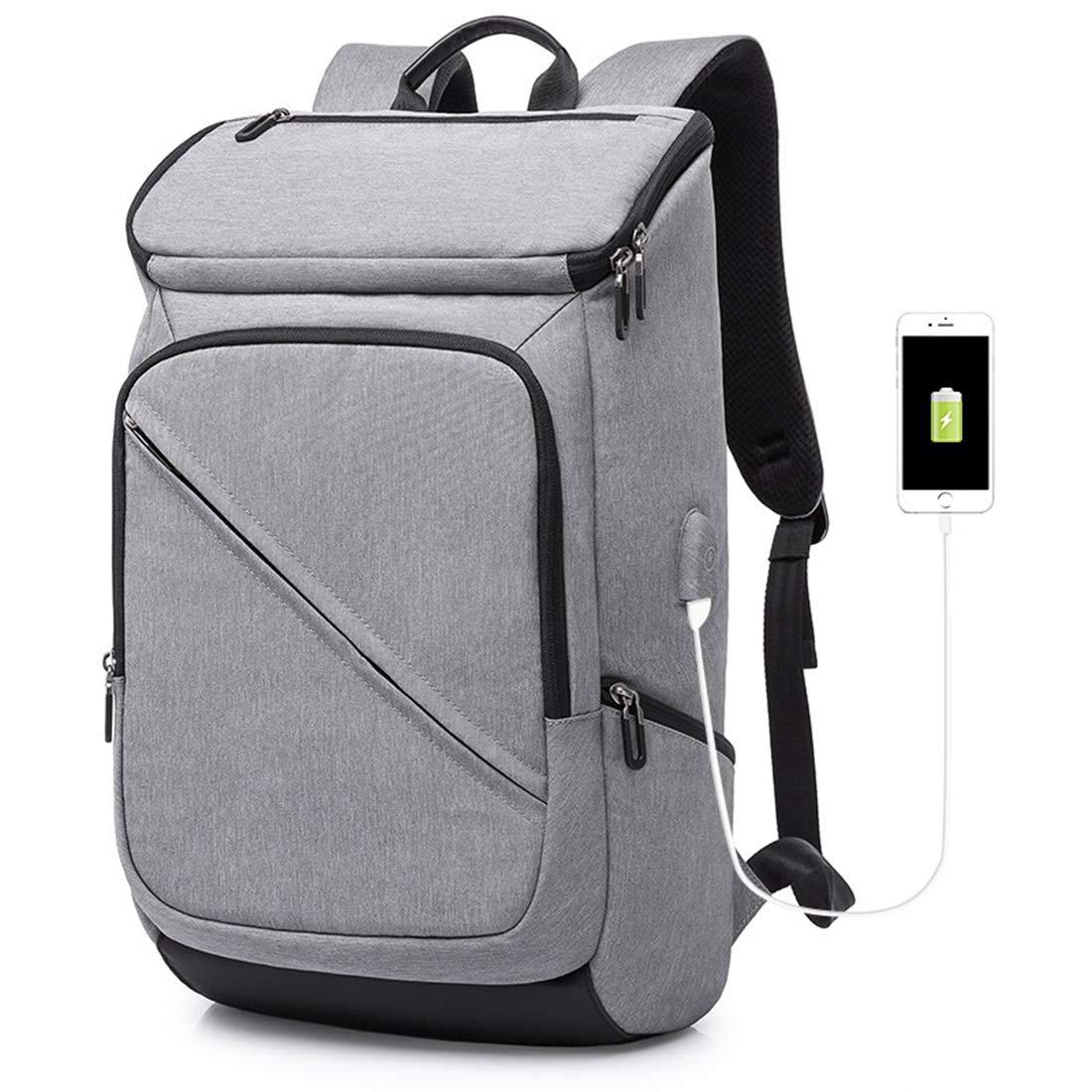 AHWZ メンズ バックパック 多機能カジュアルコンピューターバッグ シンプルカレッジバックパック USBインターフェース  グレー B07JPYNTSC