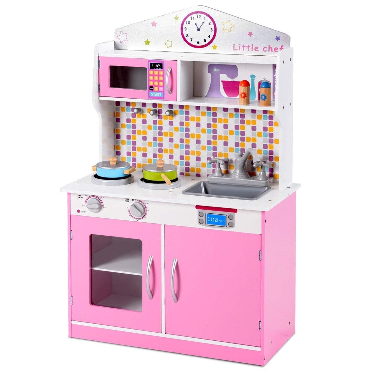 Amazon com bestchoiceforyou kids wooden pretend cooking play kitchen set pink color toys games