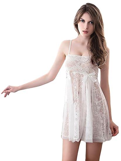 Anna Mu プリンセス系 可愛い ベビードール 清楚 シフォン レース 白 ホワイト Mサイズ Lサイズ z1610