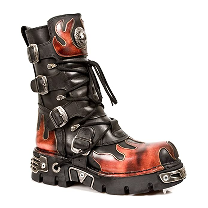 NEWROCK New Rock 591-S1 RED FLAME METALLIC BLACK LEATHER BOOT BIKER GOTH  BOOTS: Amazon.co.uk: Shoes & Bags