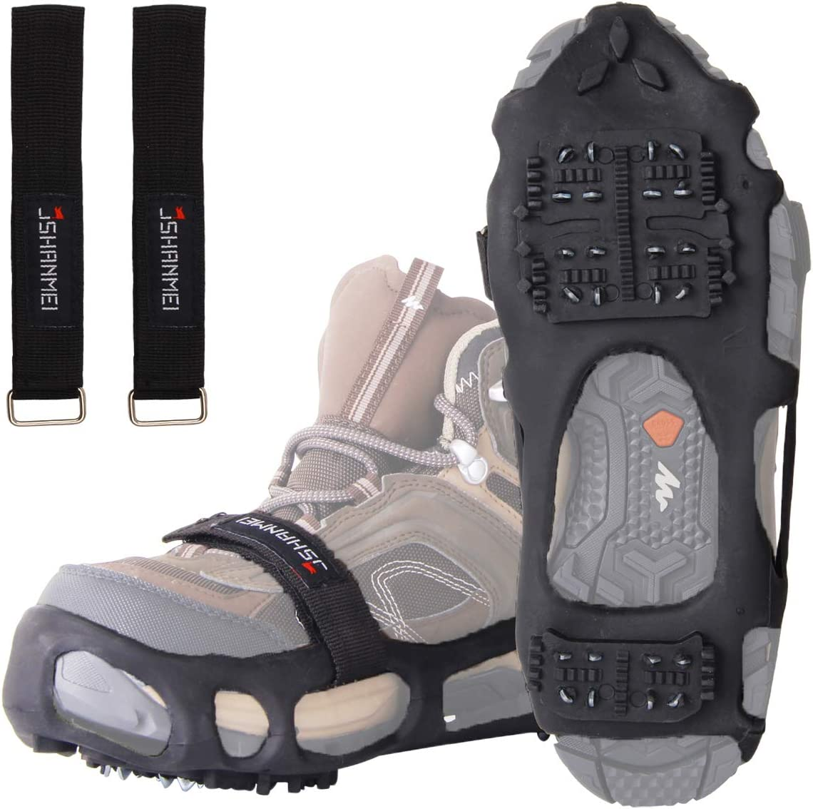 Ice Cleats 220 mm-290 mm Traction Cleats Grippers Non-Slip Over Shoe//Boot Rubber Spikes Crampons Anti Slip Walk Traction Cleats for Walking on Snow and Ice