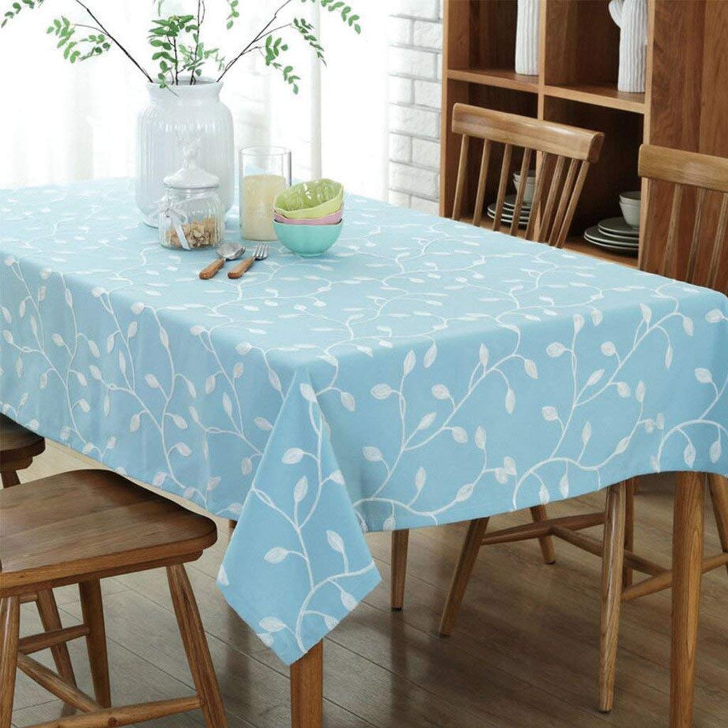 GWELL Baumwolle Leinen Tischdecke Eckig Abwaschbar Tischtuch Pflegeleicht Schmutzabweisend Frische Farbe blau 140  200cm B07P11J288 Tischdecken Sofortige Lieferung  | Klein und fein