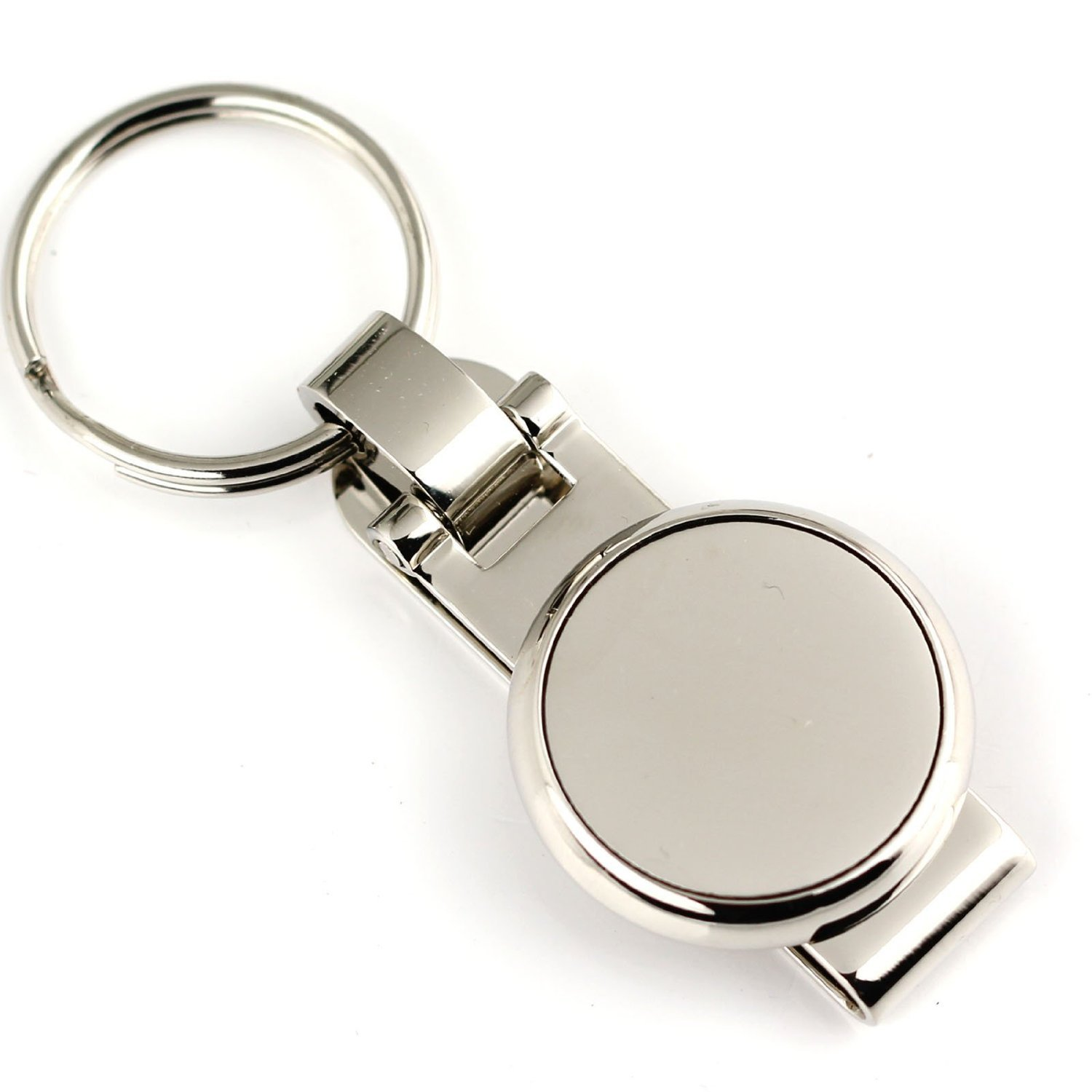maycom Polished Silver Pants Buckle Keychain Waist Belt Clip Hanging Double Loops Keyring Key Chain Ring Key Fob 84003