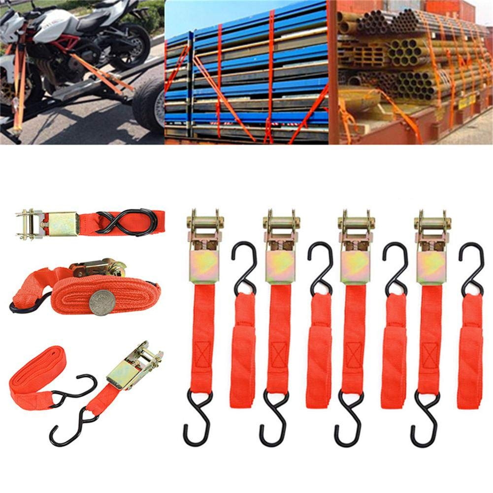 Ideal attachment for Trailer Motorcycle Caravan Bike 4.5m Heavy Duty Ratchet Tie-Down Strap with Double J Hooks for Goods Bundle Yunhigh-uk 4pcs Ratchet Straps with Hooks