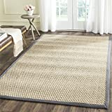 Safavieh Natural Fiber Collection NF114Q Basketweave Natural and  Dark Grey Seagrass Area Rug (4' x 6')