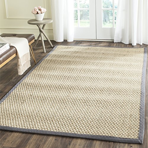 Safavieh Natural Fiber Collection NF114Q Basketweave Natural and  Dark Grey Seagrass Area Rug (5' x 8')