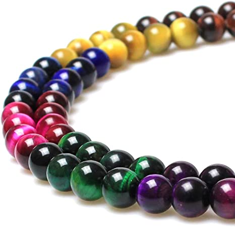 Amazon Com Jartc Rare Collection Natural Stone Beads Multicolor Tigereye Round Loose Beads For Jewelry Making Diy Bracelet Necklace 10mm Home Kitchen