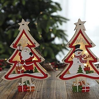 Mobestech 2 piezas de árbol de navidad de madera con pilas iluminaron adornos de mesa de