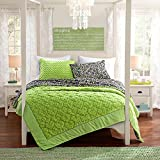 2 Pc, Plush Quilt, Lime Green Hearts, Full Size Bedding, By Karalai Bedding Collection (lime green)