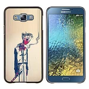 KLONGSHOP // Cubierta de piel con cierre a presión Shell trasero duro de goma Protección Caso - Hombre Humo Muerte Pintura Arte Simbólico - Samsung Galaxy E7 E700 //