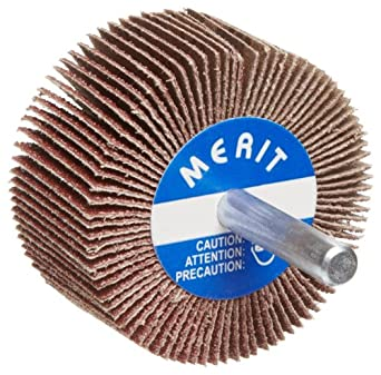 "Merit Super Finish Mandrel Mounted Mini Grind-O-Flex Abrasive Flap Wheel, Round Shank, Ceramic Aluminum Oxide, 3' Dia., 1"" Face Width, Grit 60, 20000 Max RPM (Pack of 10)"