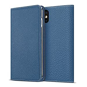 [WINTER SALE 20%OFF] BONAVENTURA iPhone X Leather Flip Wallet Case (Full-Grain Perlinger Leather from Germany) [iPhone X | BLUE]