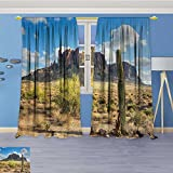 70% Blackout 2 Panels Curtains,Famous Cany Cliff with Dramatic Cloudy Sky Southwest Terrain Place Nature Thermal Insulated Drapes for Bedroom, 108W x 72L Inch