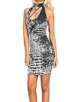 Ularma Super Weich Samt Jersey-Kleid ohne Ärmel Turtleneck Vintage Aufdruck
