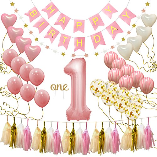 "PartyHooman First Birthday Decorations for Girl | 1st Baby Girl# 1 Balloon, Happy Birthday Banner, ""One"" Cake Topper, Star Garland, Marble Pink, Gold Confetti, Heart Balloons, Paper Tassels"