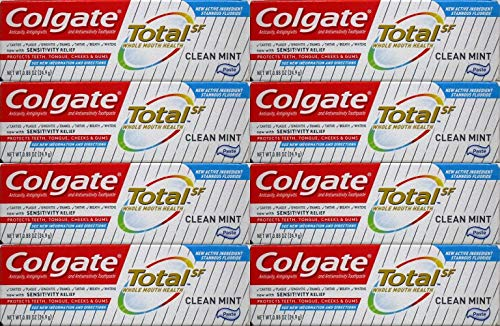 Colgate Total Anticavity Fluoride and Antigingivitis Toothpaste, Clean Mint, Travel Size, TSA Aproved, 0.88 Ounce (Pack of 8) ()