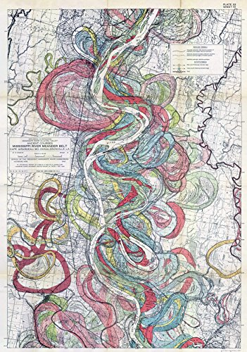 1944 Fisk Mississippi Meander Map Ancient River Bed Sheet 10 - Map Reproduction 16 X 24 inches ()