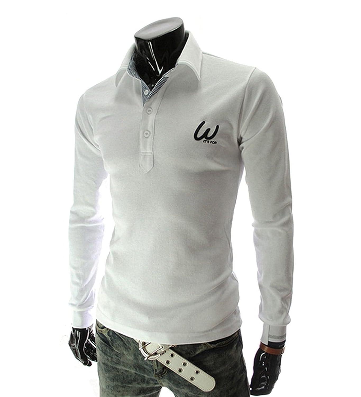 Fluorodine Men's Solid Color Long Sleeve Polo Shirt