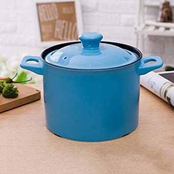 Cacerola cerámica hogar Olla de Sopa de Gas Olla Estufa de Alta Temperatura 3,5 litros - Azul: Amazon.es: Hogar
