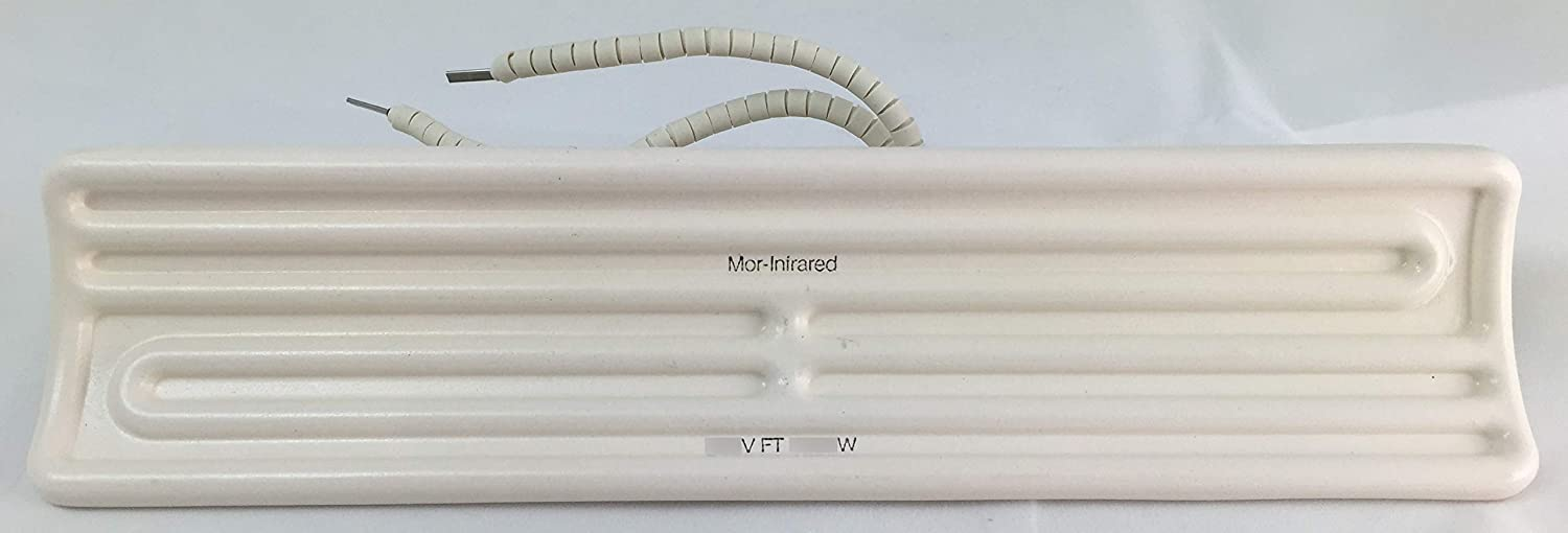 Mor-Infrared FT-200-120-0-L6-WH-0 Ceramic Infrared Heating Element for Industrial Processing Applications - 120 Volt - 200 Watt - White Glaze - 9.65 Inches Long x 2.36 Inches Wide