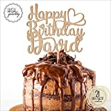 Happy Birthday Heart Personalized Name Birthday Cake Topper Customized Birthday Cake Topper With Name | Wooden Cake Toppers