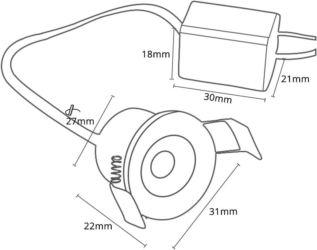 Tageslichtwei/ß 1,5 W Kaltwei/ß kleine Deckenleuchte Einbauleuchte 6000 K 4 St/ück Lediary Mini-LED-Einbauleuchte