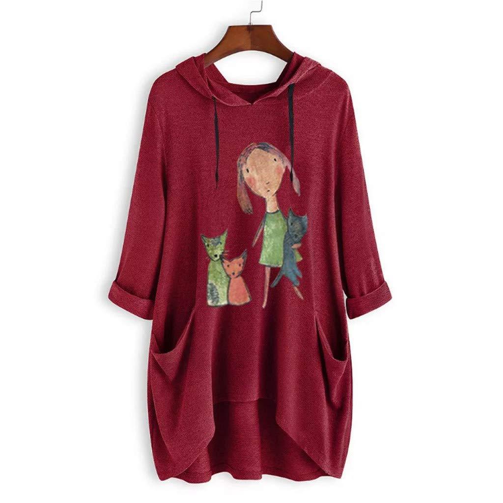 Muyise Damen Tops Kapuzen Sweatshirt Pulloverplus Size Langarm Mittellange Oberteile Print N/ähte Tasche Unregelm/ä/ßiger Saum Lose Beil/äufiges T-Shirt Tunika Blusen Tee