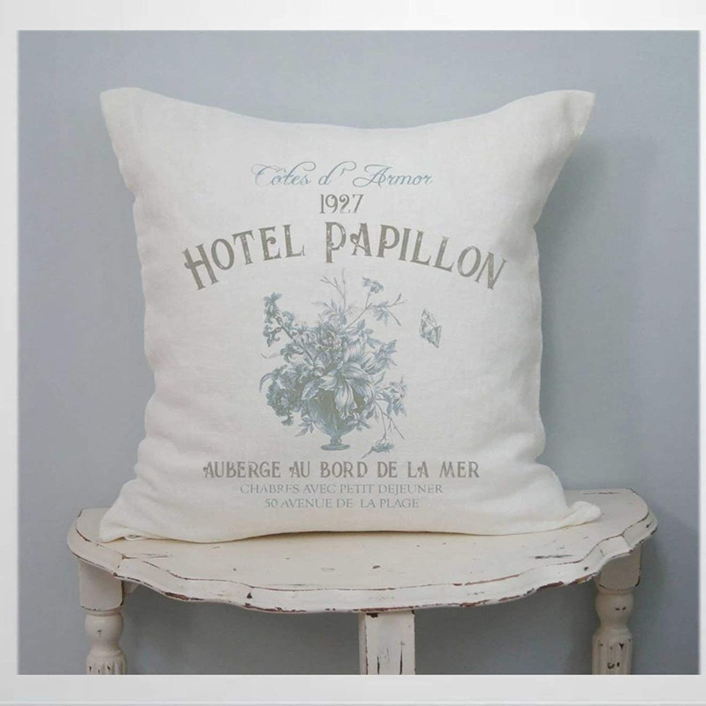 EricauBird French Country Cushion Cover,Throw Pillow Cover,Rustic Linen Decorative Lumbar Pillowcase for Chair Room Sofa car,Home Decor,Housewarming 18x18 Inch