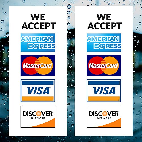 "Credit Card Vinyl Sticker Decal - 2 PACK - We Accept - Visa, MasterCard, Amex and Discover - 9"" x 4"" Vinyl Decal For Window - Shop, Cafe, Office, Restaurant"
