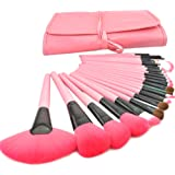 SunJas Pennelli Make Up Kit Pennelli Cosmetici Trucco spazzola professionale a 24 pezzi. Brushs per Ombretto, Make Up Set con borsa Regalo Pink