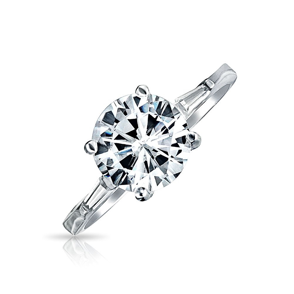 Bling Jewelry 2.75-ct CZ Sterling Silver Baguette Sidestones Engagement Ring - Size 6
