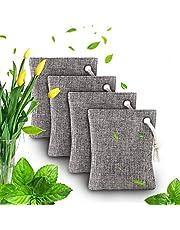 Luchtzuiverende zak - Bamboe Houtskool Luchtzuiverende geurverdrijvingszakken Set van 4 voor koelkasten Diepvriezers Auto's Kast Schoenen Keukens Kelders Slaapkamers Woonruimtes - Houdt kamers fris, droog en geurvrij