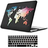 "iLeadon MacBook Pro 13 Inch Case with CD ROM 2008-2012 Release Model A1278 Rubberized Hard Shell Cover+Keyboard Cover for MacBook Pro 13"" Non Retina Display, Black Map"