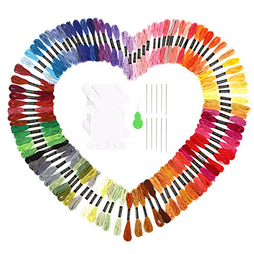 Soledi Embroidery Floss 100 Skeins Embroidery Thread Rainbow Color Cross Stitch Floss by SOLEDI