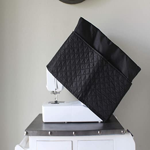 Amazon.com: Everything Mary Black Quilted Sewing Machine Cover - Dust Cover Protector That Fits Most Standard Brother & Singer Machines - Collapsible with ...